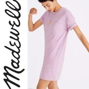 MADEWELL Pocket Tee Dress Heathered Purple {E3}